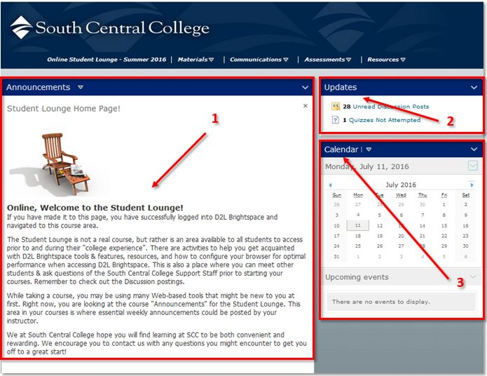 Course Homepage - South central d2l
