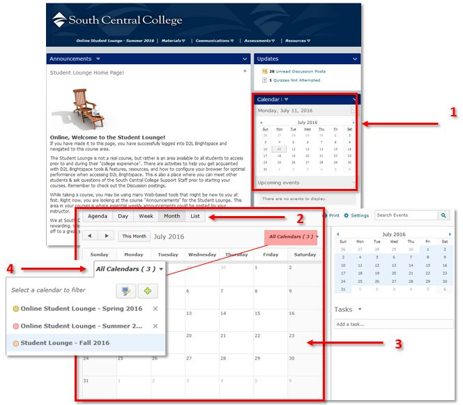 Calendar Or Events - South central d2l